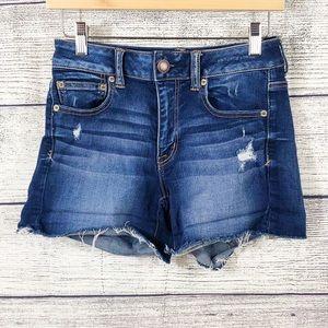 American Eagle distressed hi rise jean shorts 4